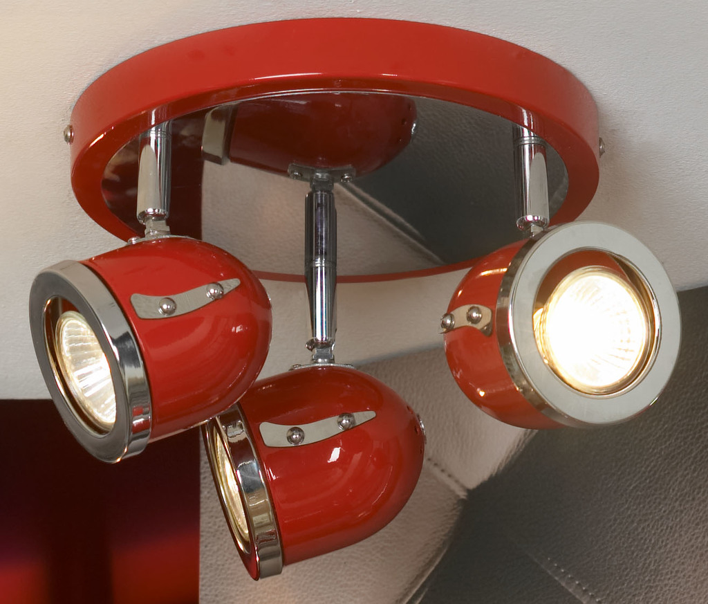 Потолочная люстра с регулировкой направления света Lussole Loft Tivoli LSN-3107-03, IP21, 3xGU10x50W, красный, хром, металл - фото 1