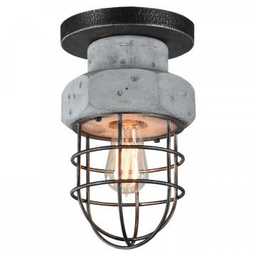 Потолочный светильник Lussole Loft Commack LSP-9701, IP21, 1xE27x60W, серый, металл, бетон