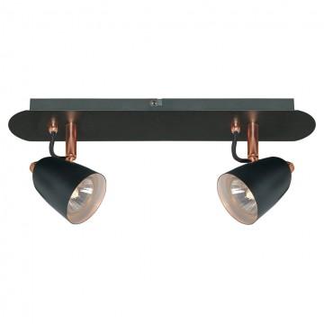 Потолочный светильник с регулировкой направления света Lussole Loft New Frontino LSP-9852, IP21, 2xGU10x50W, черный, металл