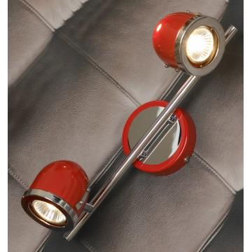 Потолочный светильник с регулировкой направления света Lussole Loft Tivoli LSN-3101-02, IP21, 2xGU10x50W, красный, хром, металл