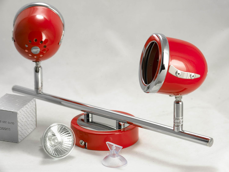 Потолочный светильник с регулировкой направления света Lussole Loft Tivoli LSN-3101-02, IP21, 2xGU10x50W, красный, металл - фото 4