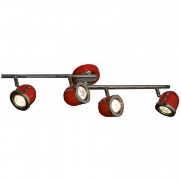 Потолочный светильник с регулировкой направления света Lussole Loft Tivoli LSN-3109-04, IP21, 4xGU10x50W, красный, металл