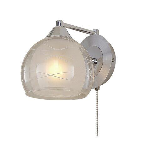 Бра Citilux Буги CL157312, 1xE27x75W, алюминий, хром, белый, прозрачный, металл, стекло