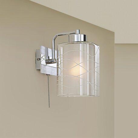 Бра Citilux Румба CL159310, 1xE27x75W, белый, хром, металл, стекло
