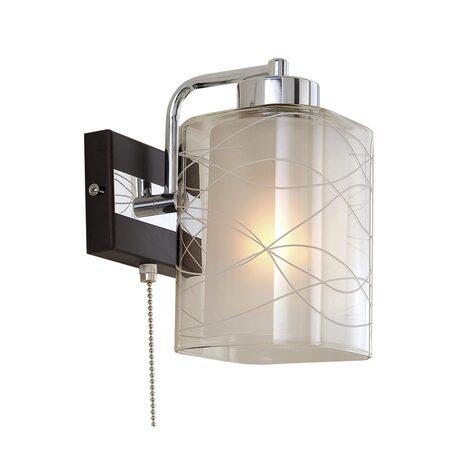 Бра Citilux Румба CL159311, 1xE27x75W, венге, хром, белый, прозрачный, металл, стекло