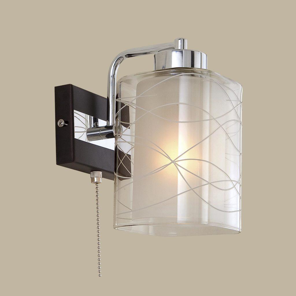 Бра Citilux Румба CL159311, 1xE27x75W, венге, хром, белый, прозрачный, металл, стекло - фото 3