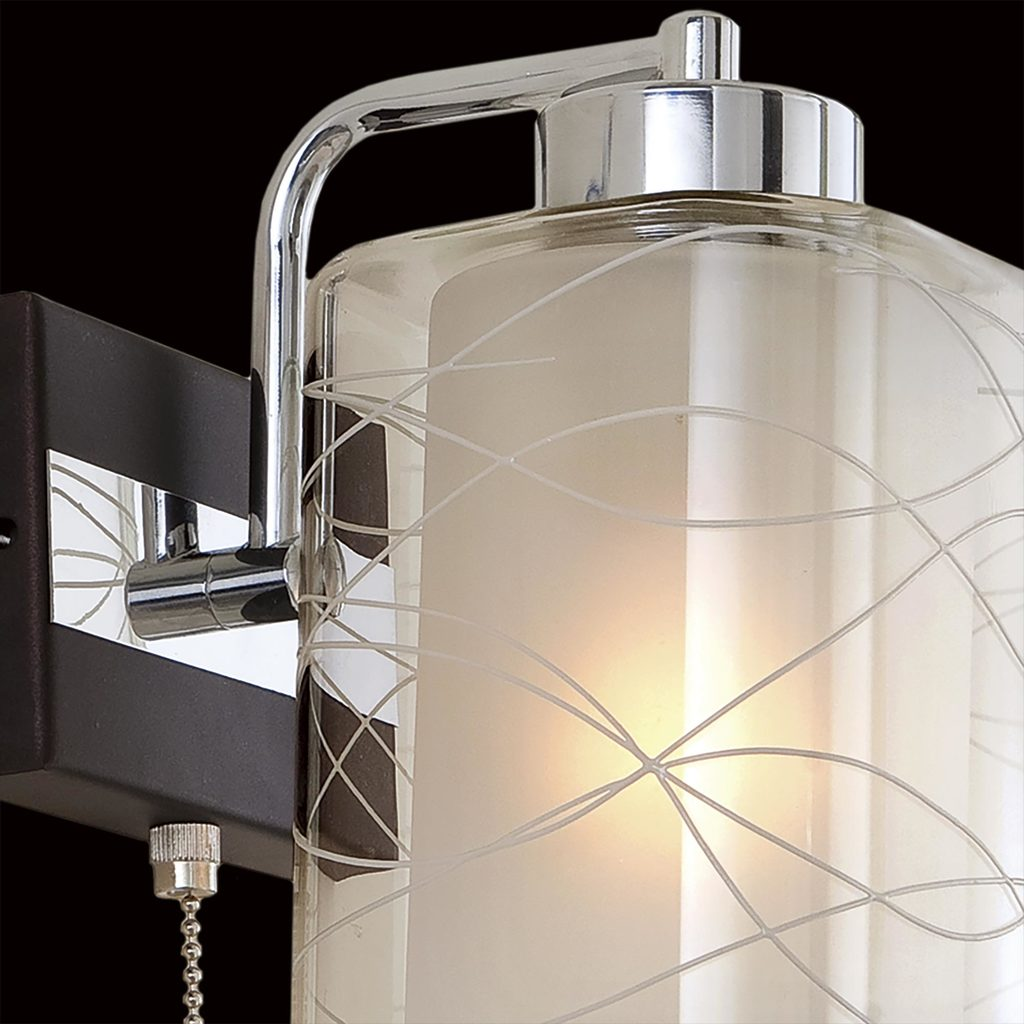 Бра Citilux Румба CL159311, 1xE27x75W, венге, хром, белый, прозрачный, металл, стекло - фото 4