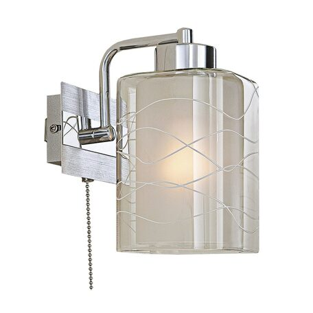 Бра Citilux Румба CL159312, 1xE27x75W, алюминий, хром, белый, прозрачный, металл, стекло