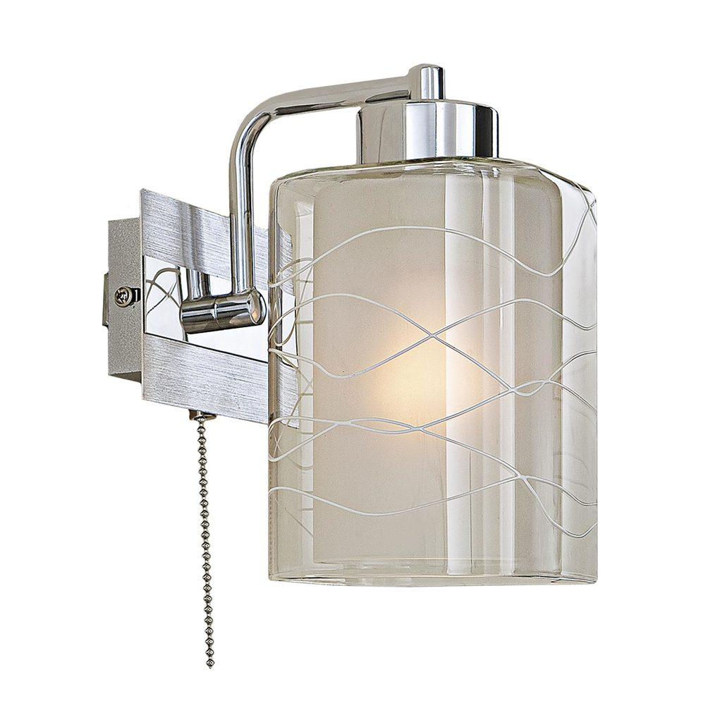Бра Citilux Румба CL159312, 1xE27x75W, алюминий, хром, белый, прозрачный, металл, стекло - фото 1