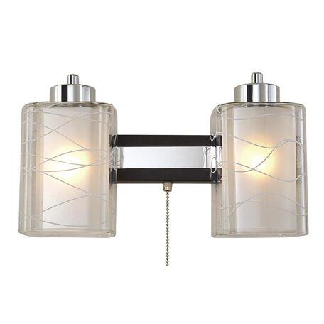 Бра Citilux Румба CL159321, 2xE27x75W, венге, белый, прозрачный, металл, стекло