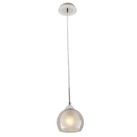 Подвесной светильник Citilux Буги CL157111, 1xE27x75W, белый, хром, прозрачный, металл, стекло