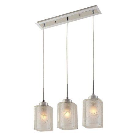 Подвесной светильник Citilux Румба CL159132, 3xE27x75W, алюминий, хром, белый, прозрачный, металл, стекло