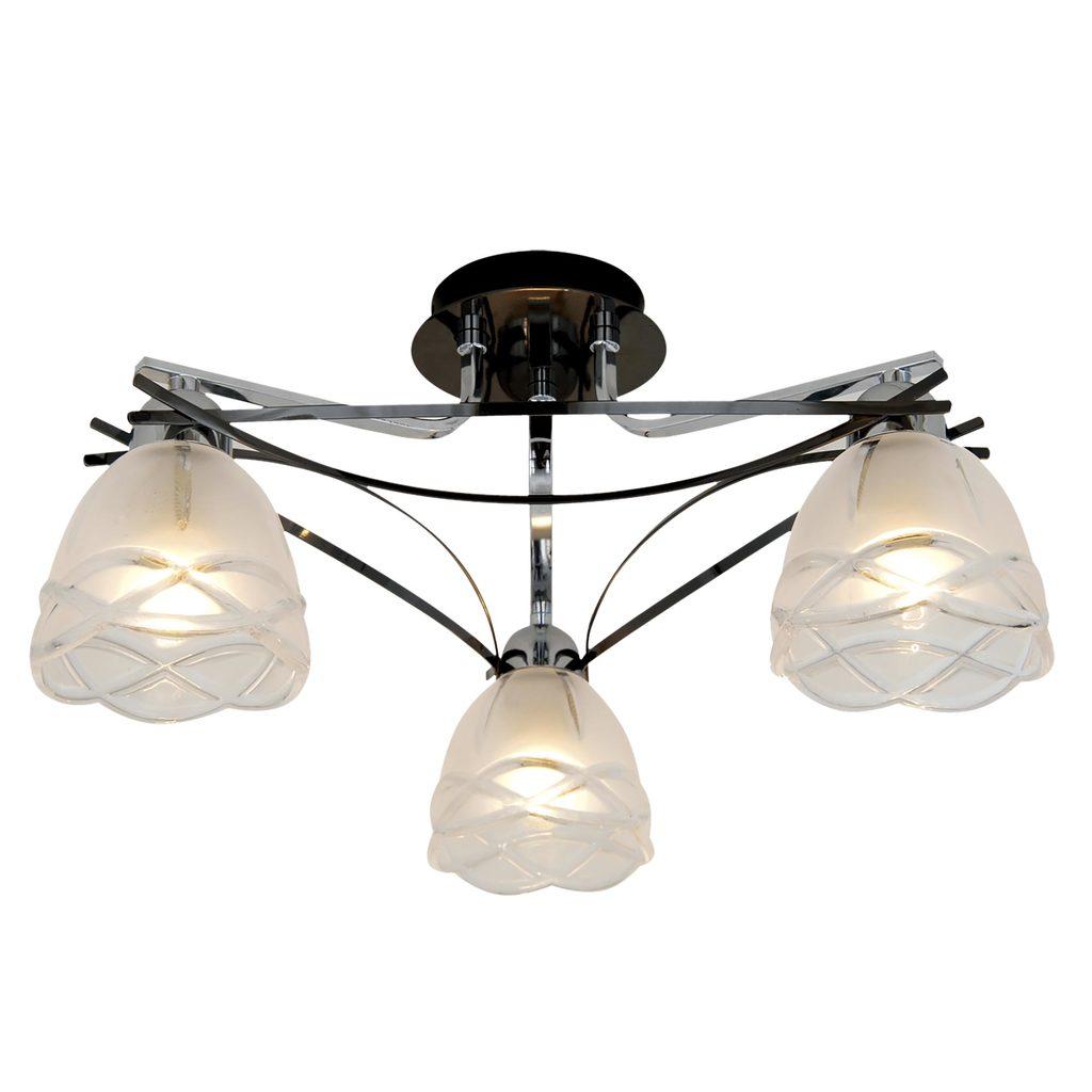 Потолочная люстра Citilux Сандра CL147131, 3xE14x60W, хром, белый, металл, стекло - фото 1