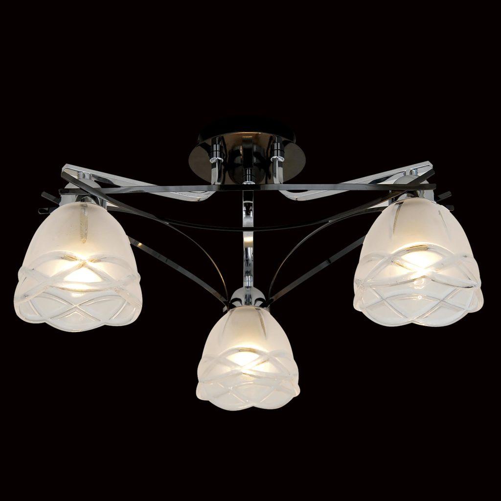 Потолочная люстра Citilux Сандра CL147131, 3xE14x60W, хром, белый, металл, стекло - фото 2