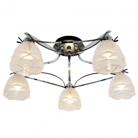 Потолочная люстра Citilux Сандра CL147151, 5xE14x60W, хром, белый, металл, стекло