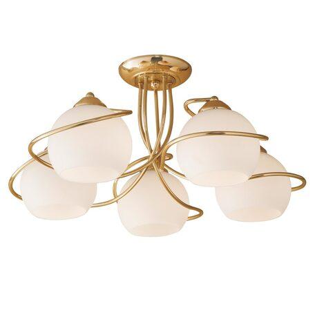 Потолочная люстра Citilux Лайма CL155152, 5xE27x100W, золото, белый, металл, стекло
