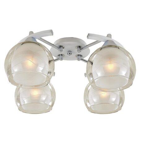 Потолочная люстра Citilux Буги CL157141, 4xE27x75W, белый, хром, прозрачный, металл, стекло