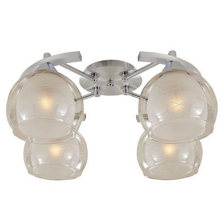 Потолочная люстра Citilux Буги CL157142, 4xE27x75W, алюминий, хром, белый, прозрачный, металл, стекло - миниатюра 1