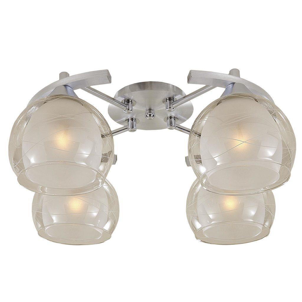 Потолочная люстра Citilux Буги CL157142, 4xE27x75W, алюминий, хром, белый, прозрачный, металл, стекло - фото 1