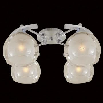 Потолочная люстра Citilux Буги CL157142, 4xE27x75W, алюминий, хром, белый, прозрачный, металл, стекло - миниатюра 2