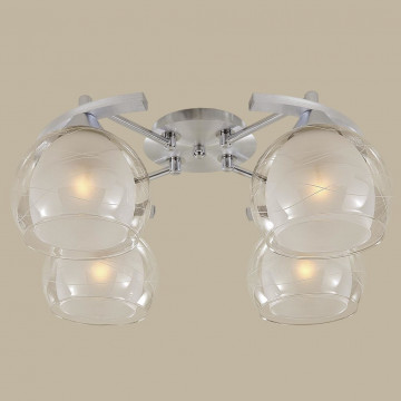 Потолочная люстра Citilux Буги CL157142, 4xE27x75W, алюминий, хром, белый, прозрачный, металл, стекло - миниатюра 3