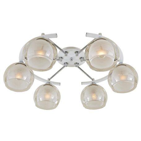 Потолочная люстра Citilux Буги CL157161, 6xE27x75W, белый, хром, прозрачный, металл, стекло