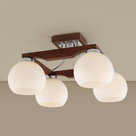Потолочная люстра Citilux Ариста CL164341, 4xE27x75W, коричневый, хром, белый, дерево, металл, стекло