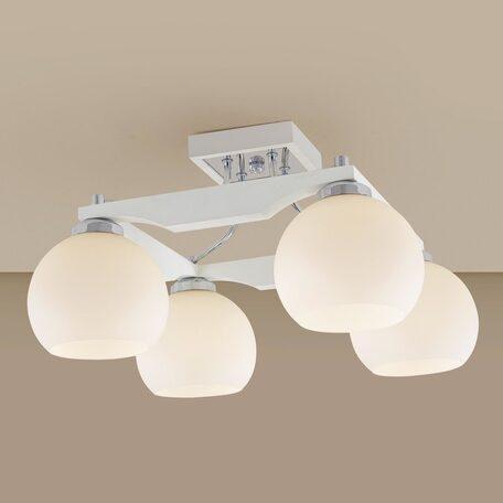Потолочная люстра Citilux Ариста CL164342, 4xE27x75W, белый, хром, дерево, металл, стекло