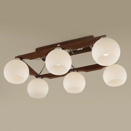 Потолочная люстра Citilux Ариста CL164361, 6xE27x75W, коричневый, хром, белый, дерево, металл, стекло