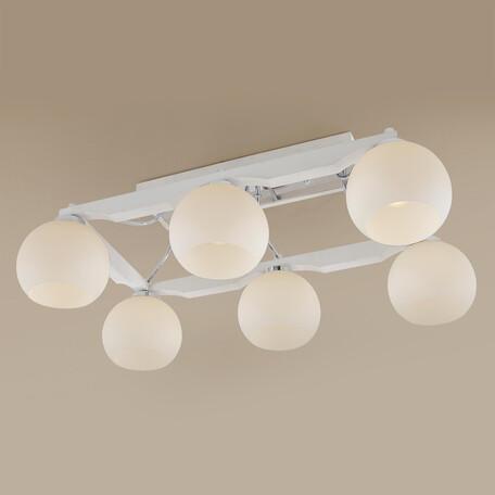 Потолочная люстра Citilux Ариста CL164362, 6xE27x75W, белый, дерево, стекло