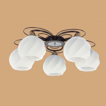 Потолочная люстра Citilux Николь CL168155, 5xE27x75W, венге, белый, металл, стекло - миниатюра 2