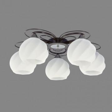 Потолочная люстра Citilux Николь CL168155, 5xE27x75W, венге, белый, металл, стекло - миниатюра 3