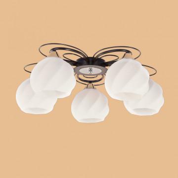 Потолочная люстра Citilux Николь CL168155, 5xE27x75W, венге, белый, металл, стекло - миниатюра 5