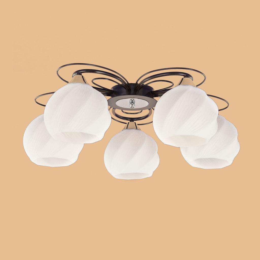 Потолочная люстра Citilux Николь CL168155, 5xE27x75W, венге, белый, металл, стекло - фото 5
