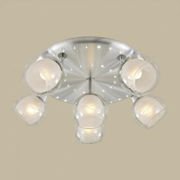 Потолочная люстра с регулировкой направления света Citilux Самба CL158162, 6xE27x75W + LED, алюминий, хром, белый, прозрачный, металл, стекло