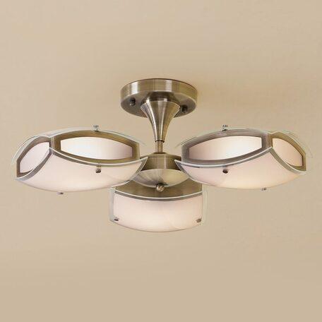 Потолочная люстра с регулировкой направления света Citilux Берген CL161133, 3xE27x75W, бронза, белый, металл, стекло
