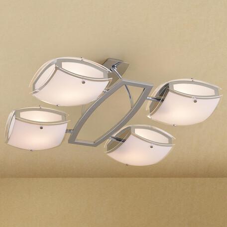 Потолочная люстра с регулировкой направления света Citilux Берген CL161141, 4xE27x75W, хром, белый, металл, стекло
