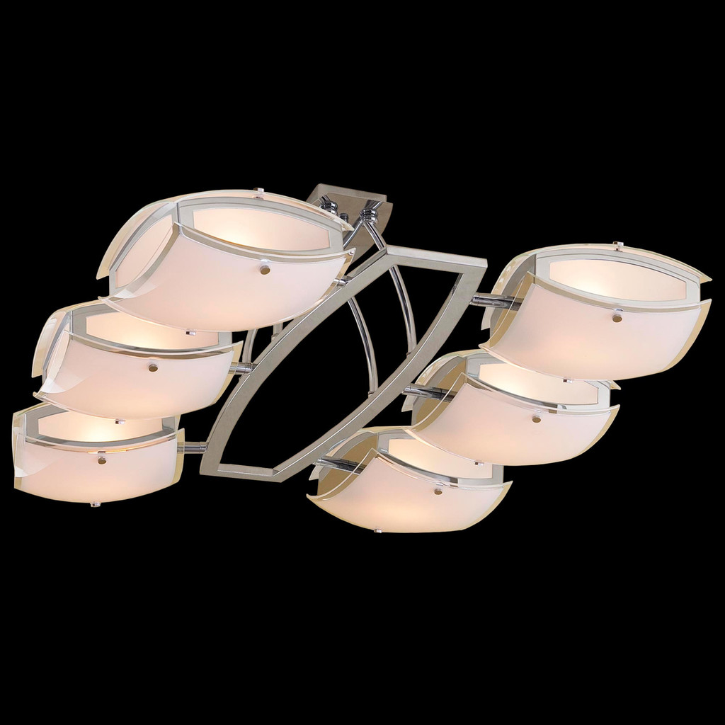 Потолочная люстра с регулировкой направления света Citilux Берген CL161161, 6xE27x75W, хром, белый, металл, стекло - фото 2