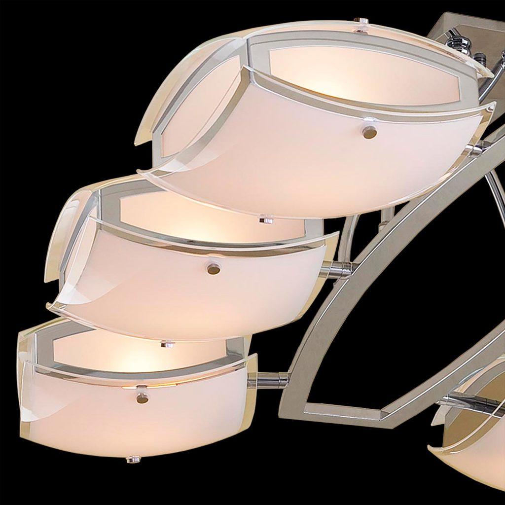 Потолочная люстра с регулировкой направления света Citilux Берген CL161161, 6xE27x75W, хром, белый, металл, стекло - фото 4
