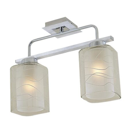 Потолочный светильник Citilux Румба CL159122, 2xE27x75W, алюминий, хром, белый, прозрачный, металл, стекло