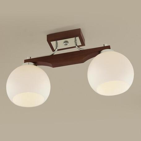 Потолочный светильник Citilux Ариста CL164321, 2xE27x75W, коричневый, белый, дерево, стекло - миниатюра 1