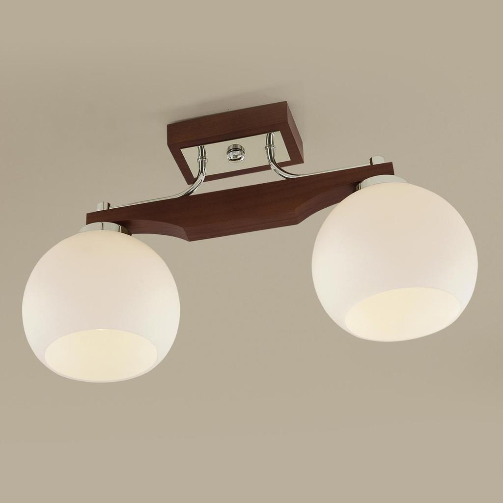 Потолочный светильник Citilux Ариста CL164321, 2xE27x75W, коричневый, белый, дерево, стекло - фото 1