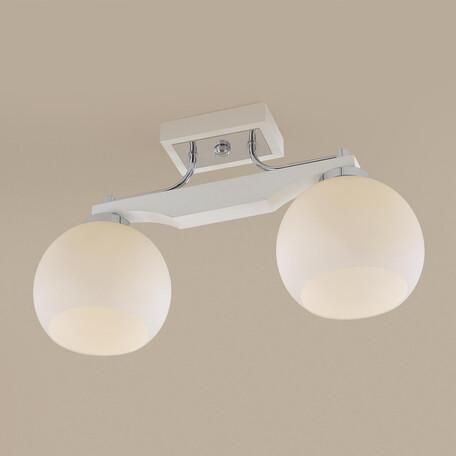 Потолочный светильник Citilux Ариста CL164322, 2xE27x75W, белый, хром, дерево, металл, стекло
