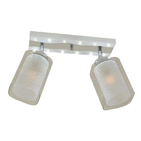 Потолочный светильник с регулировкой направления света Citilux Прима CL160221, 2xE27x75W, белый, хром, прозрачный, металл, стекло
