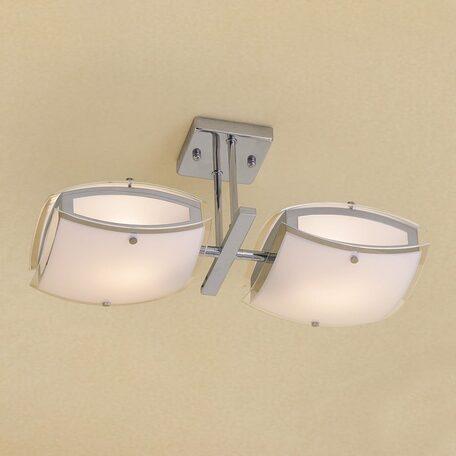 Потолочный светильник с регулировкой направления света Citilux Берген CL161121, 2xE27x75W, хром, белый, металл, стекло - миниатюра 1