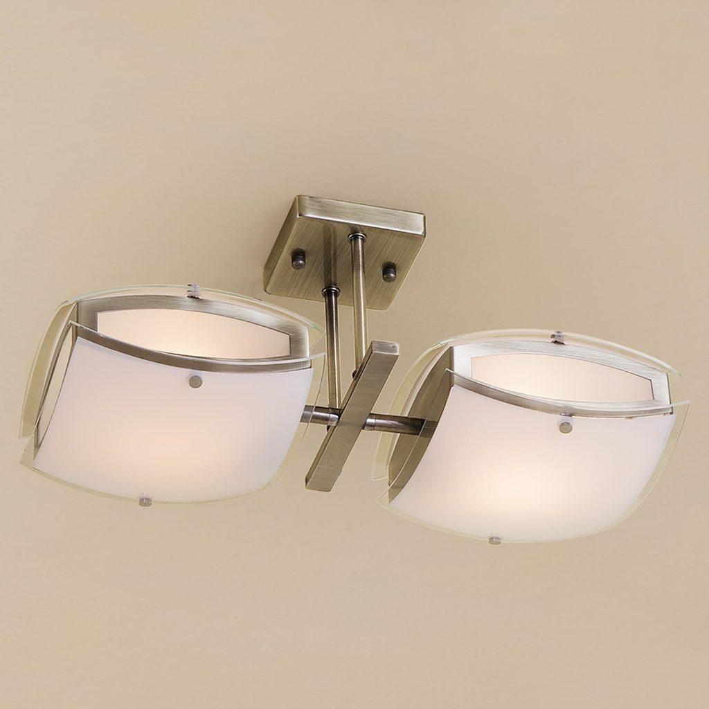 Потолочный светильник с регулировкой направления света Citilux Берген CL161123, 2xE27x75W, бронза, белый, металл, стекло - фото 1