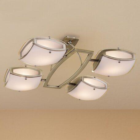 Потолочная люстра с регулировкой направления света Citilux Берген CL161143, 4xE27x75W, бронза, белый, металл, стекло