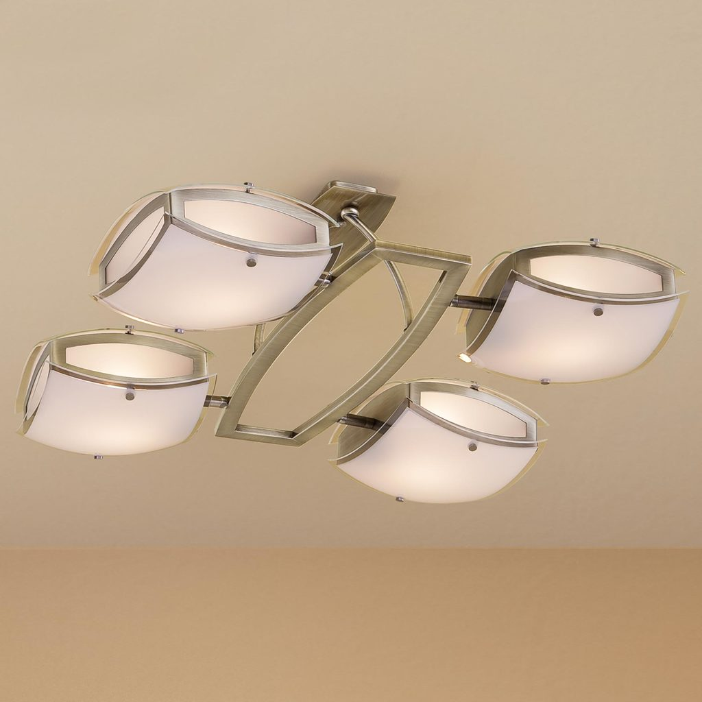 Потолочная люстра с регулировкой направления света Citilux Берген CL161143, 4xE27x75W, бронза, белый, металл, стекло - фото 1