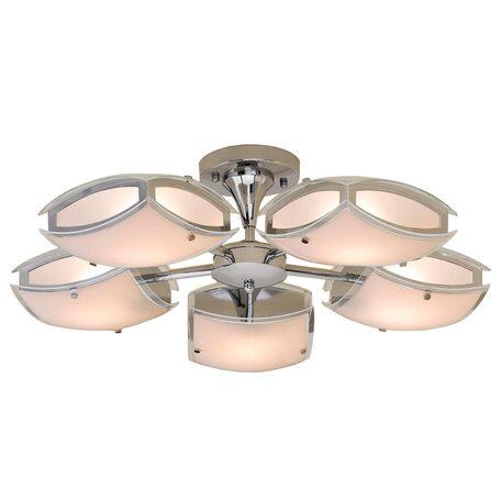 Потолочная люстра с регулировкой направления света Citilux Берген CL161151, 5xE27x75W, хром, белый, металл, стекло