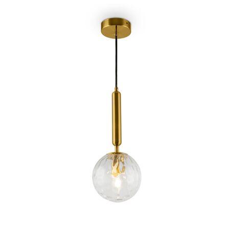Светильник Freya Zelda FR5122PL-01BS, 1xE14x40W, латунь, прозрачный, металл, стекло